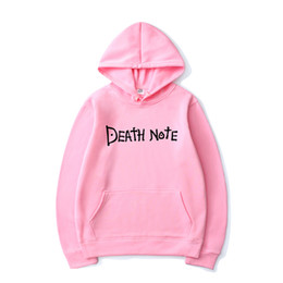 Wholesale anime death note hoodie resale online - Anime Men Women Hoodies Solid Color Death Note Letter Print Hooded Sweatshirt Harajuku Hip Hop Streetwear Casual Hoodie Pullover X1022