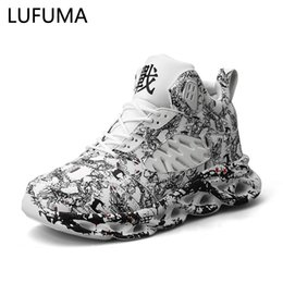 Fashion Men's Hip Hop Street Dance Graffiti High Top Chunky Sneakers Autumn Summer Casual Mesh Shoes Boys Zapatos Hombre