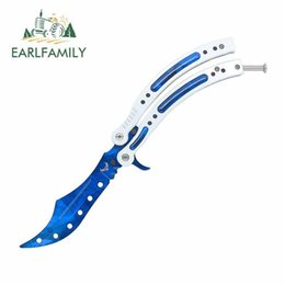 butterfly knifes wholesale Australia - Earlfamily 13cm X 11.2cm For Bule Butterfly Knife Camper Truck Decal Diy Waterproof Personality Trunk Creative Car Stickers bbyECw