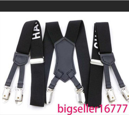 Wholesale hot sale Factory Direct Men's and women Suspenders Six Clip 3.0 Printing Strap 3.0 * 115cm Six Clip Character Webbing Six Clip Wide Strap