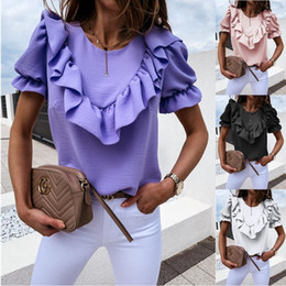 Wholesale polyester blouse ruffles for sale – plus size Women Plus Size Sexy Ruffled Short Puff Sleeve Blouse O neck Elegant Casual Tops Shirts Evening Party Clubwear Tops