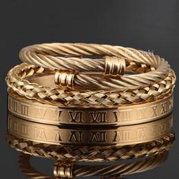 3pcs Set Roman Numeral Bangles Men Bracelet Handmade Stainless Steel Hemp Rope Buckle Open Pulseira Bileklik Luxury Jewelry on Sale