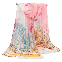 Discount paintings sailboats Summer Scarves Woman 2020 Thin Chiffon Scarf Sailboat Oil Painting Silk Scarf Colorblock Gradient Long Section hijab Bea
