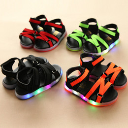 led cone lights UK - SUOVEKGO 2020 Summer New Fashion Cool Summer Boys Girls Sandals High Quality LED Lighted Children Shoes Casual Baby Kids Shoes