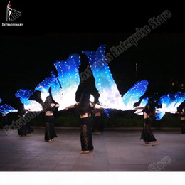 Led soie Fan Veil Bellydance Fan Veils Silk LED Light Show Blanc Bleu Prop Accessoires Belly Dance Performance étape