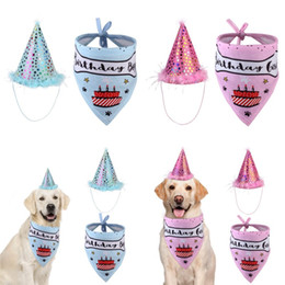 Wholesale happy birthday cats for sale - Group buy Pet Cat Dog Happy Birthday Headwear Hat Saliva Towel Bib Party Costume Pet Birthday Celebration Suit Clothes G2