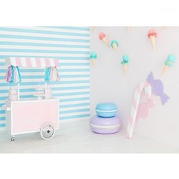 sweets cones 2021 - Sweet Table Ice Cream Cone Stripes Photo Backdrop Vinyl Cloth Background Photography Props for Children Baby Shower Photoshoot1