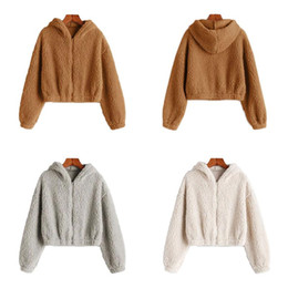 Wholesale fleece jackets women for sale - Group buy Fleece Zip Up Teddy Bear Fur Coat Fleece Jacket Hoodies Crop Fashion Women Crop Fluffy Hooded women winter warm Jacket