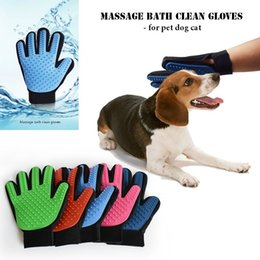 pet grooming glove UK - Grooming Pet Dog cat Massage bath clean gloves 3D mesh TPR Gloves Brush 5 colors with Retail box