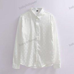 Vente en gros Louis Vuitton shirt Nouveau printemps vêtements de luxe automne hiver des hommes de chemise de soie à manches longues de haute qualité vêtements de cérémonie noir et blanc
