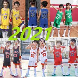 Los niños del deporte del baloncesto DAMES 23 camisetas de baloncesto bebé Jersey Establece Uniformes niños de baloncesto sin mangas Kits Retroceso pantalones cortos rojos en venta