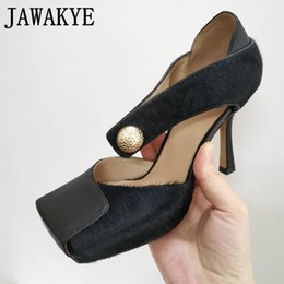 stylish sandals NZ - Stylish Brand High Heels Square Toe Sandals Women Horsehair real Leather Mary Janes Hollow Out pumps Runway Shoes Women LJ200924