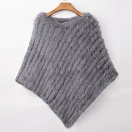 Wholesale knitted rabbit poncho for sale - Group buy ETHEL ANDERSON Real Rabbit Fur Knitted Fur Poncho Vest Party Wrap Coat Shawl Women s Natural Fur Wedding Gift Discount