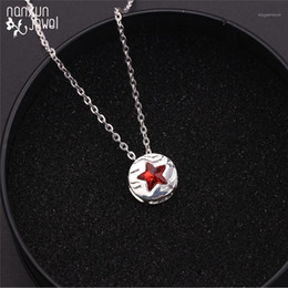 Wholesale red star badge resale online - 4 Captain Pendant Necklace Red Enamel Star Badge Pendant Alloy Link Chain Men Women Fashion Necklaces jewelry1