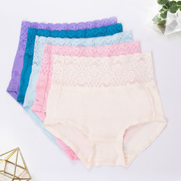 Wholesale lace boxer shorts resale online - Mulberry Silk Women s High waist Boxer Shorts Lace Panties Comfortable Seamless Breathable Buttocks Large Size Calcinha Feminina