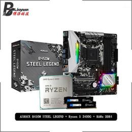 RAMS AMD RYZEN 5 3400G R5 CPU + ASROCK B450M Çelik Legend Anakart + Puguitou DDR4 2666 MHz Suit Soket AM4 Soğutucu olmadan1
