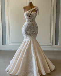 Wholesale wedding aso ebi for sale - Group buy 2021 Plus Size Arabic Aso Ebi Luxurious Lace Beaded Wedding Dresses One Shoulder Mermaid Bridal Dresses Vintage Wedding Gowns