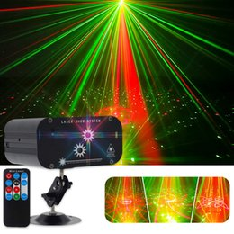 Discount rgb laser projector 48 Patterns Double Hole Laser Lighting Mini LED Stage Effect Lighting Christmas Party Projector Lamp RGB Sound Control Bar DJ Disco Lights