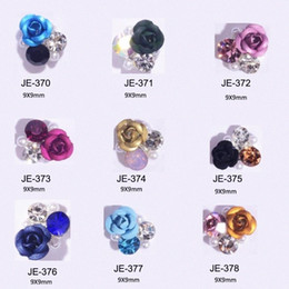 10pcs Japanese Style Alloy 3D Nail Art Acrylic Rose Flower Decoration Crystal Rhinestones For Nail Charms Jewelry Supplies 9*9mm On7P#