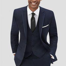 Wholesale army navy coat resale online - Latest Coat Pant Designs Navy Blue Formal Custom Groom Blazer suit Wedding Men Suits Piece Slim Fit Terno Jacket Vest Pants