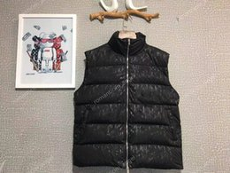 Wholesale tweed winter jacket for sale – winter Hot new High End Full Printed Down Jacket Vest Women Men Winter Warm Outdoor Sleeveless Coats Classic Cotton Jackets Street Outwear