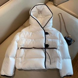 Wholesale ladies short padded jackets resale online – Branded Women Short Down Jacket Puffy Leather Belt Designer Lady Jacquard Zipper Feather Padding Hooded Down Jacket