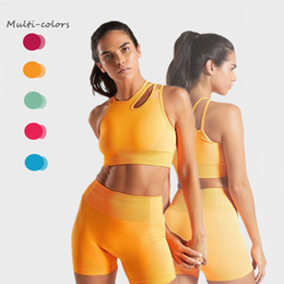 women sexy sport suits Australia - Sexy Women Cut-out Yoga Sets 2 Pieces Sports Legging GymWorkout Top Sports Suits Tracksuit Set Fitness Yoga Clothing