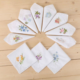 white lace bibs Australia - Women Basic White Square Handkerchief Floral Embroidered Pocket Hanky Butterfly Lace Cotton Baby Bibs Portable Towel Napkin