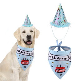 Wholesale happy birthday cats resale online - Pet Cat Dog Happy Birthday Headwear Hat Saliva Towel Bib Party Costume Pet Birthday Celebration Suit Clothes GWD3950