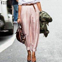 Wholesale women working pants resale online – ZANZEA Women High Waist Lantern Pants Elegant Solid Office Work Trousers Female Loose Harem Pants Casual Turnip Pantalon Tunic