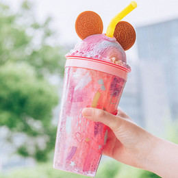 450ml Cold Drink Cup Cute Rabbit Ear Creative Ice Double Wall Mouse Ear Water Tumbler Fruit Cartoon Cups With Straw And Lid Xjlha