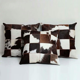 real furs for 2021 - Single side genuine cowhide skin fur pillow cushion , black and white handmade real cow leather pillow for furniture upholstery