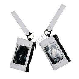 Wholesale Sublimation Blank Credit Card Holder Slot Wallets Thermal Heat Transfer Print Neoprene Purse with Lanyard Wristlet Wallets Handbags F102306