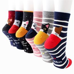 Nueva llegada Calcetines de mujer color 5 pares / paquete primavera otoño-invierno divertido dibujos animados calcetines de calcetines y calcetines de algodón a rayas de la mujer en venta