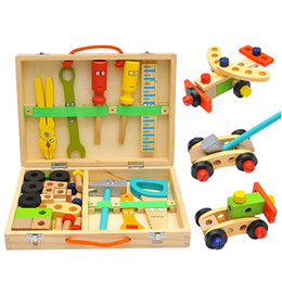 pretend tool set Australia - Kids Wooden Toolbox Pretend Play Set Educational Montessori Toys Nut Disassembly Screw Assembly Simulation Repair Carpenter Tool LJ201007