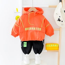 formal clothes for baby boys UK - Kids Boy Clothes For Toddler Girl Fashion Casual Hooded Infant Baby Set Spring Letter Clothing Tracksuit 1 2 3 4 Years 200928