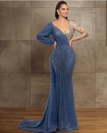 2021 New Blue Evening Dresses Jewel Neck Beaded Sequined Lace Long Sleeve Mermaid Prom Dress Sweep Train Custom Illusion Robes De Soirée on Sale