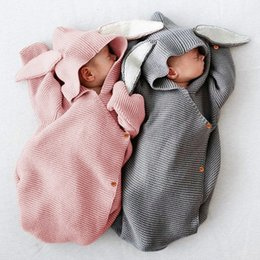 hand knit baby clothes UK - Autumn New Romper Bunny Ears Knitted Baby Sleeping Bag Is Stereo Newborn Baby Clothes Baby Romper Blanket LJ201127