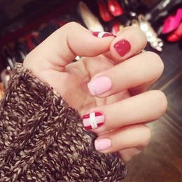 false nails designed pink UK - Girls Sweet Pink Red Color Artificial Nails Short Size Design Fashion False Nails 24pcs DIY Full Cover Nail Art Tips with Glue