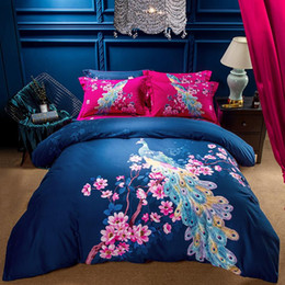 Discount beautiful king size bedding sets Beautiful Peacock Girls Bedding Set Queen King Size Bed Sheets Duvet Cover Winter Cotton Textiles Oriental Bedroom Sets