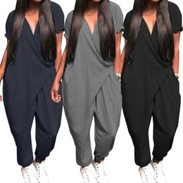 plus size shorts jumpsuit UK - Plus Size Overalls Women's Jumpsuits 2020 ZANZEA Fashion Casual Harem Pants V Neck Button Playsuits Female Short Sleeve Romepers