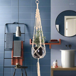 Wholesale Elegant Art Macrame Plant Hanging Basket Hangers Woven Cotton Hanging Plant Holder Bohemian Home Decor Basket1