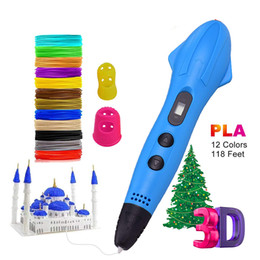 Wholesale LED Display 3D Printer Printing Pen With 12 Colors 1.75mm PLA Filament Arts Drawing Painting Pens Gift for Kids
