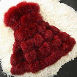 Wholesale fox lady vest resale online - Thick Warm Ladies Silver Fox Coat Autumn Winter Faux Vest Fashion Gray Black Red Women Fur Jacket