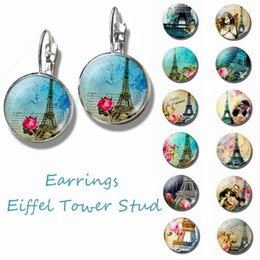 jewelry france paris 2021 - City of Romance France Paris Eiffel Tower Literary Simple Style Earings Glass Cabochons Jewelry DIY Earring Women Lover