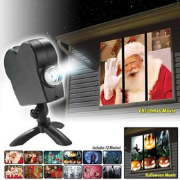 Wholesale Christmas Halloween Holographic Projector 12 Movies Halloween Party Christmas Santa Claus Projection Lamp Window Movie Projector LJ201016