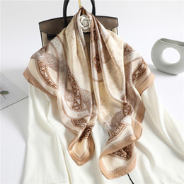 large square cotton scarves UK - women's Chinese style imitation printed silk large square 90cm thin autumn and Winter scarf