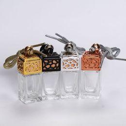 Wholesale New car accessories perfume bottle 8ml quadrate car glass bottle hanging ornaments