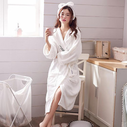 Wholesale winter robes for women resale online - Robes for Women Sleepwear Winter Pajamas Ladies Hotel style Bathrobes Simple Long Nightgown Home Casual Wear