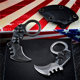 small karambit knives 2021 - Top Quality Mini Small EDC Pocket Fixed Blade Claw Knife AUS-8A Blade 59HRC Full Tang G10 Handle Karambit